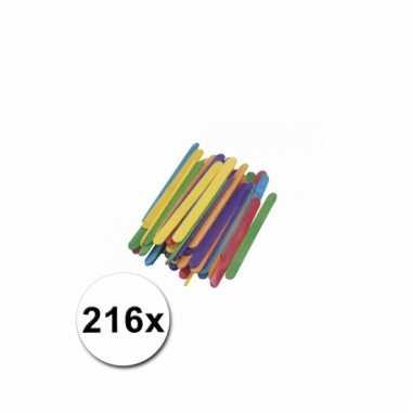 Gekleurde houten knutsel ijsstokjes 216 stuks