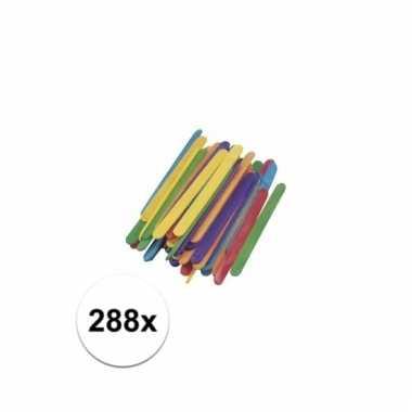 Gekleurde houten knutsel ijsstokjes 288 stuks