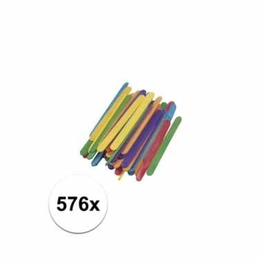 Gekleurde houten knutsel ijsstokjes 578 stuks