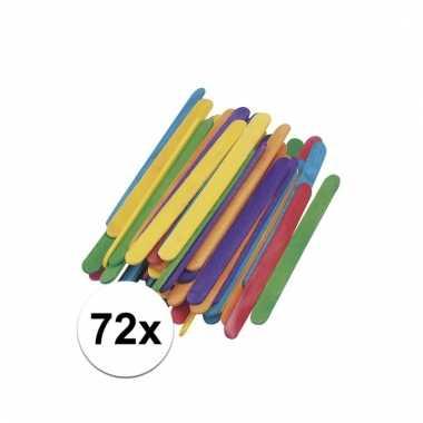 Gekleurde houten knutsel ijsstokjes 72 stuks