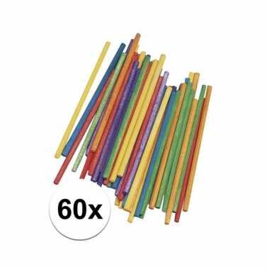 Gekleurde knutselhoutjes 10 cm