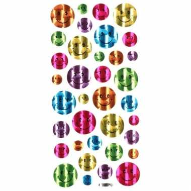 Gekleurde metallic smiley stickervel 36 stuks