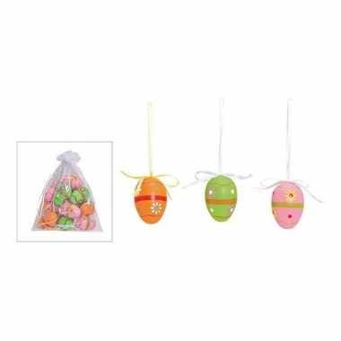 Gekleurde paaseieren met bloemetjes hangdecoratie