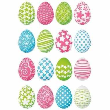 Gekleurde paaseieren stickervellen met 32 stickers