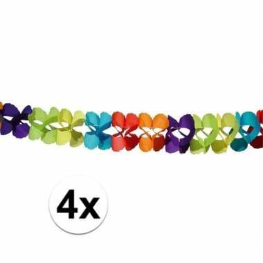 Gekleurde papieren slingers 6 meter vier stuks