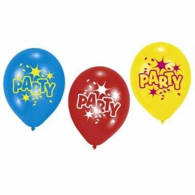 Gekleurde party ballonnen 6 stuks