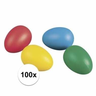 Gekleurde plastic paaseieren 100 stuks