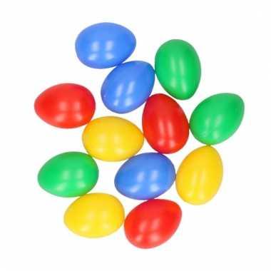 Gekleurde plastic paaseieren 12 stuks
