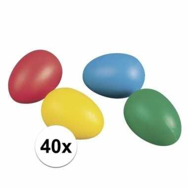 Gekleurde plastic paaseieren 40 stuks