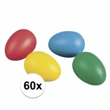 Gekleurde plastic paaseieren 60 stuks
