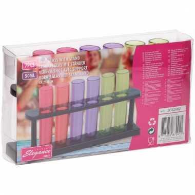 Gekleurde plastic shotglazen 6 stuks