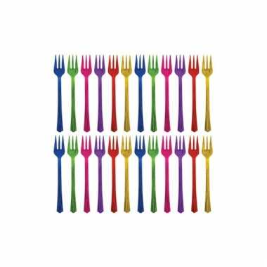 Gekleurde plastic vorkjes 20 stuks