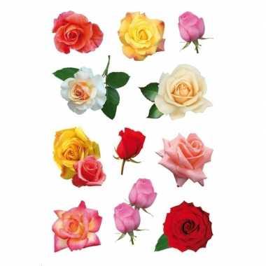 Gekleurde roos bloemen stickervellen met 33 stickers