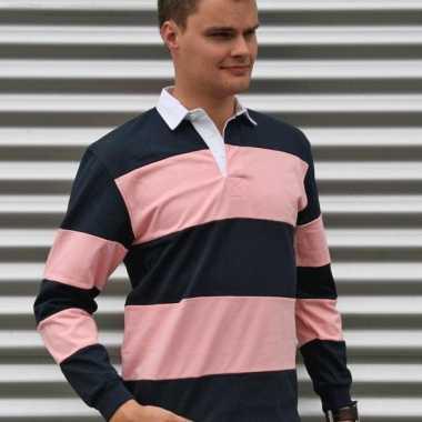 Gekleurde rugbyshirts navy/roze