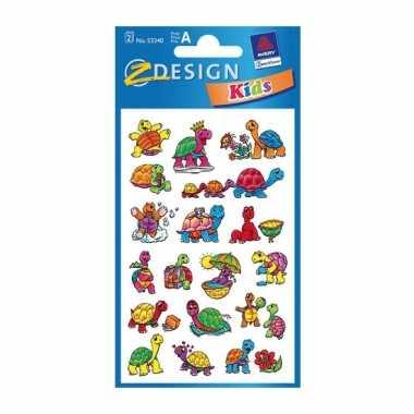 Gekleurde schildpad stickertjes 2 vellen