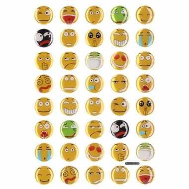 Gekleurde smiley 3d stickervel 35 stuks