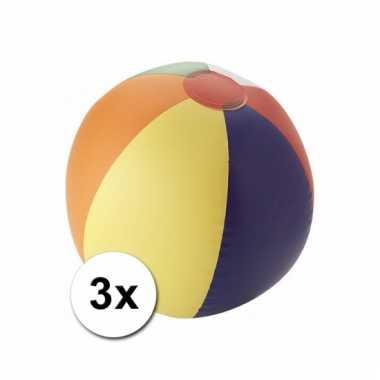 Gekleurde strandballen opblaasbaar 3 stuks