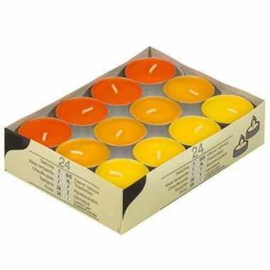 Gekleurde theelichtjes geel en oranje 24 stuks