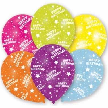 Gekleurde verjaardag ballonnen 6 stuks