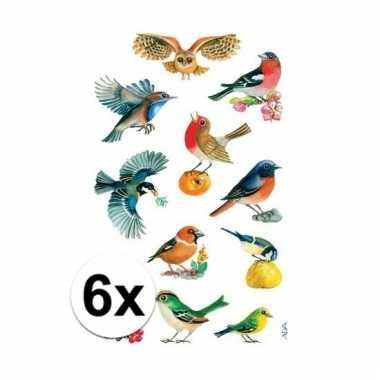 Gekleurde vogel stickertjes 6 vellen