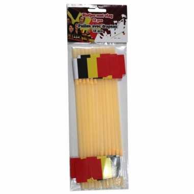 Gele belgische vlag rietjes 12 stuks