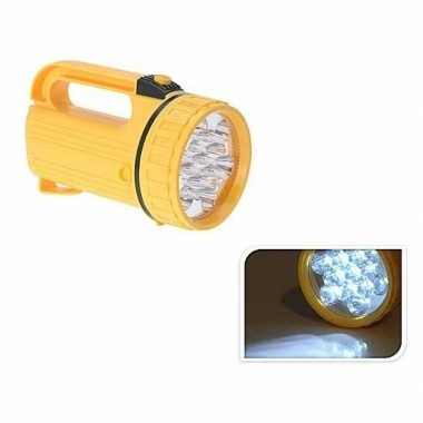 Gele camping zaklamp met led licht 20 cm