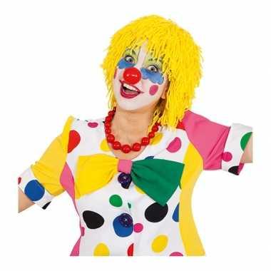 Gele clown pruik van touw