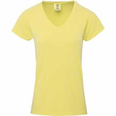 Gele dames t-shirts met v-hals