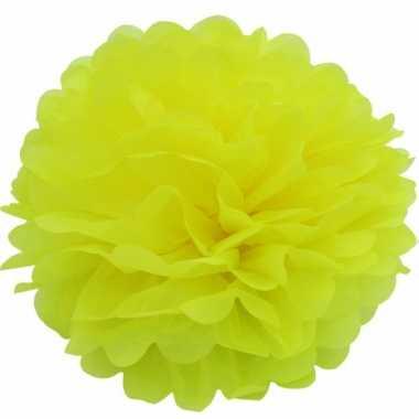 Gele decoratie pompoms 35 cm
