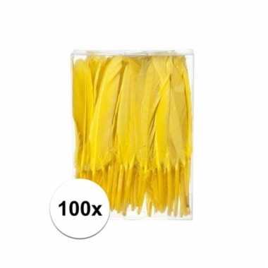 Gele decoratie veren 100 stuks 13 cm