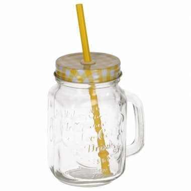 Gele drinkbeker met deksel en rietje 500 ml