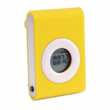 Gele fitness stappenteller/pedometer met riemclip