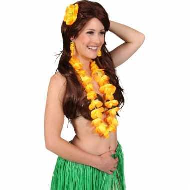 Gele hawaii set voor dames