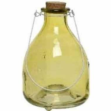 Gele insectenval/insectenvanger 18 cm van glas