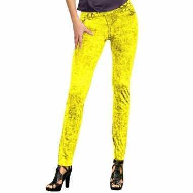 Gele jeans legging voor dames