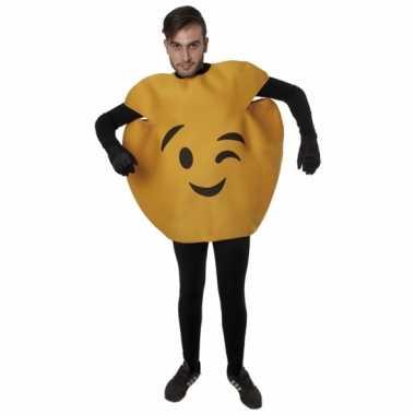 Gele knipoog emoticon kostuum voor volwassenen