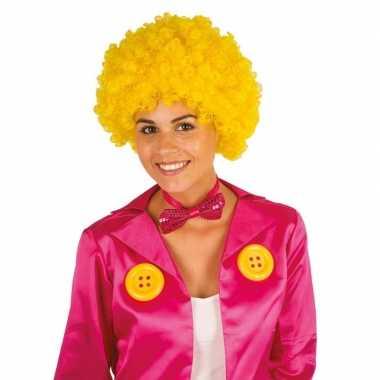 Gele krullen clownspruik verkleed accessoire