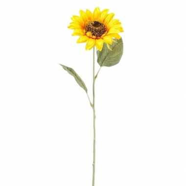 Gele kunst zonnebloem kunstbloemen 62 cm decoratie