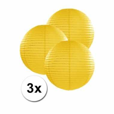 Gele lampionnen 25 cm 3 stuks