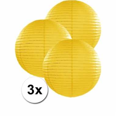 Gele lampionnen 35 cm 3 stuks