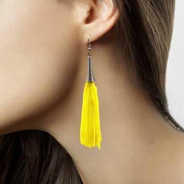 Gele neon kwastjes oorbellen