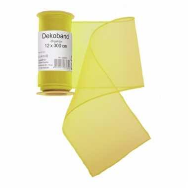 Gele organza stof 12 x 300 cm