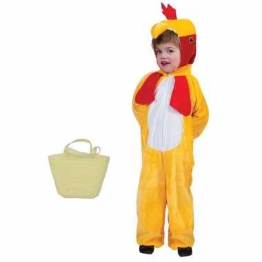 Gele paaskip kostuum 5-6 jaar met mandje voor kids