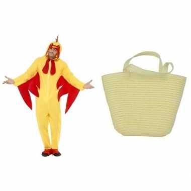 Gele paaskip kostuum maat l met mandje voor dames/heren