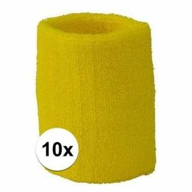 Gele polsbandjes 10 stuks