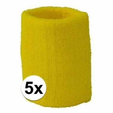 Gele polsbandjes 5 stuks