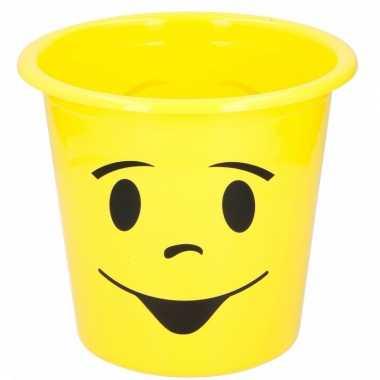 Gele prullenbak met lachend gezichtje