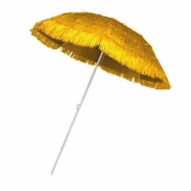 Gele rieten strand parasol