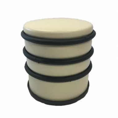 Gele ronde deurstopper met rubberen bescherming 7 x 7.5 cm