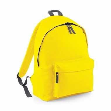 Gele rugtas reistas met voorvak 18 liter voor volwassenen
